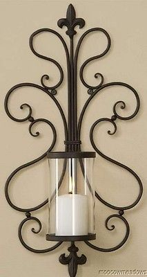 New Fleur De Lis French Hurricane Wall Candle Holder Sconce Metal Tuscan Decor Wall Candle Holders, Candle Stand, Tuscan Home Decorating, Wrought Iron Decor, Mediterranean Home Decor, Iron Furniture, Tuscan Style, Metal Wall Decor, Metal Art