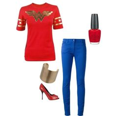 A fashion look from April 2014 featuring red top, super skinny jeans and peep toe pumps. Browse and shop related looks. Wonder Woman Birthday, Wonder Woman Party, Disfraz Wonder Woman, Moda Disney, Wonder Woman Outfit, Superhero Birthday Party, 5th Birthday, Outfits Mujer, Casual Cosplay