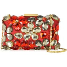 Love Moschino Handbags Crystal and Fabric Clutch (9,210 THB) ❤ liked on Polyvore featuring bags, handbags, clutches, red, red clutches, clasp purse, floral purse, red hand bags and man bag