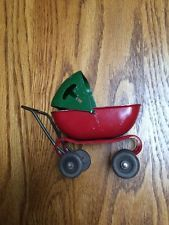 VTG TOY METAL DOLL BUGGY BABY CARRIAGE STROLLER MINIATURE DOLLHOUSE USA 1930'S