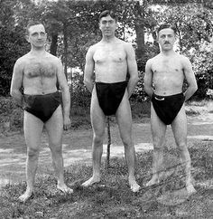 oh dear.   Men in bathing suits, historic photograph, around 1916