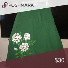 Hand painted Vintage wrap skirt with pokets Hand painted flowers on this cute vintage wrap skirt, not to mention pokets! Skirts A-Line or Full