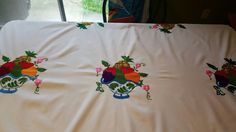 Check out this item in my Etsy shop https://www.etsy.com/listing/294811337/handmade-tablecloth-mantel-bordado-a