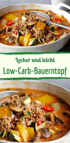 Schneller Bauerntopf mit Hackfleisch und Gemüse This spicy farmer's pot with minced meat and vegetables is just the thing when it is cold and uncomfortable outside. And best of all, this stew is also low carb. About the recipe … # diet recipes # diet soup No Calorie Foods, Low Calorie Recipes, Meat Recipes, Healthy Recipes, Pizza Recipes, Healthy Soup, Quick Recipes, Healthy Meals, Cooking Recipes