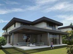 villa projeleri - Google'da Ara Modern Exterior House Designs, Architectural Design House Plans, Dream House Exterior, Modern Architecture House, Modern House Design, Contemporary House Plans, Modern House Plans, Double Storey House Plans, Casas Containers