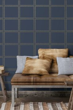 Gridlock Navy Geometric Ultra Removable Wallpaper