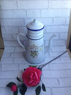 Antique French Enamelware coffee pot by FrenchArtAndHeritage