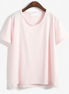 Round Neck Loose Pink T-Shirt