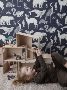 With her usual stunning richness in detail, the British illustrator Katie Scott has created three designs of wallpaper for ferm LIVING. Baby Wallpaper, Ferm Living Wallpaper, Tier Wallpaper, Kids Room Wallpaper, Home Wallpaper, Animal Wallpaper, Wallpaper Wallpapers, Animal Bedroom, Kids Interior