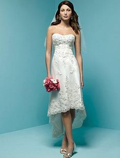 This short wedding dress is made of Satin, Embroidered Lace, Strapless neckline, High and low Hemline. Elegant dress for beach wedding, summer wedding and any other informal wedding.   Fabric: Satin Embellishment: Embroidery Silhouette:  A-Line/Princess Sleeves: Sleeveless Neckline: Strapless Back: Zipper up Hemline: High and low $159.99