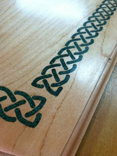 crushed stone for inlay woodworkers | Custom Irish Table With Stone Celtic Knot Inlay On Top by Doug Malcuit ...