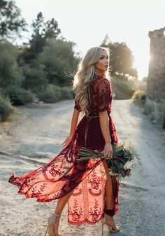 Burgundy Floral Chain Lace Flowy Side Slit Deep V-neck Boho Beach Maxi Dress Sexy Maxi Dress, Maxi Dress With Slit, Lace Maxi, Boho Dress, Lace Dress, Maxi Dresses, Red Flowy Dress, Wine Red Dress, Prom Dress