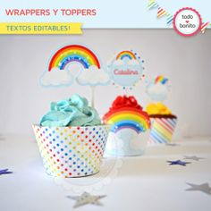 Arcoiris: wrappers y toppers