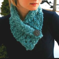 If you don't want to knit an entire scarf, this is a good way to cut the knitting in half, but still keep your neck warm! : )