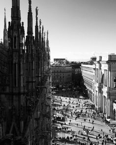 #top of #Duomo #milan #gothic #architecture #city #landscape #feeling #good #art #history #love#culture #blackandwhite #bnw by selinalemdar_