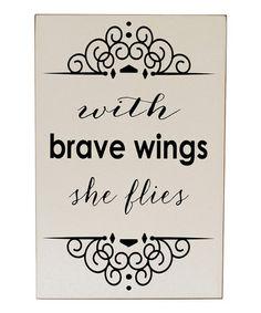 Look at this #zulilyfind! Cream & Black 'Brave Wings' Wall Art by Vinyl Crafts #zulilyfinds