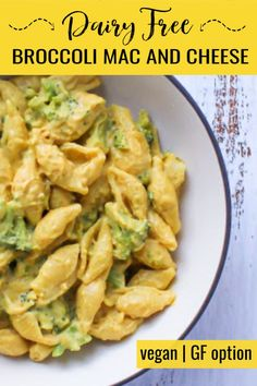 This simple mac and cheese with broccoli is made with homemade creamy vegan cheese sauce that's dairy free, plant-based, and made with no oil! Approved by kids and adults. Serve with regular pasta or gluten free pasta for a delicious and healthy dinner. Broccoli Mac And Cheese Recipe, Mac And Cheese Sauce, Vegan Mac And Cheese, Broccoli Recipes, Veggie Recipes, Whole Food Recipes, Pasta Recipes, Veggie Meals, Vegan Lasagna Recipe