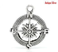 "Free Shipping! 20PCs Antique Silver Compass Charm Pendants 30x25mm(1-1/8""x1"") (B18557)"
