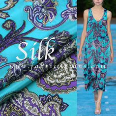 """Turquoise Paisley. Printed silk fabric. Silk Charmeuse. Pure Silk. 11momme. 55"""" wide. SSB100919"""