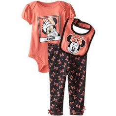 Disney Baby Girls' Minnie Mouse 3 Piece Soft Bodysuit, Bib and Pant... ($9.70) ❤ liked on Polyvore featuring kids