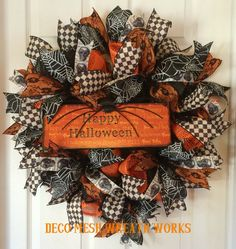 Halloween Wreath, Halloween Wreaths, Spider Wreath, Skull Wreath, Mesh Wreaths, Deco Mesh Wreath, Paper Mesh Wreath, Fall Wreath, Halloween by DecoMeshWreathWorks on Etsy