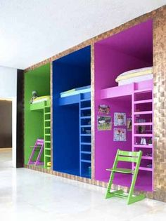 Interesting bunk bed concept: kinda like office cubicles, but for kiddos.   9 by belladina, via Flickr