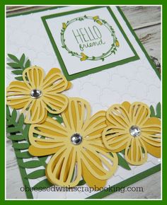 Obsessed with Scrapbooking: [Video]Artistry Cricut Flower Hello Card Paper Cards, Diy Cards, Flower Cards, Paper Flowers, Scrapbook Cards, Scrapbooking, Cricut Cards, Cards For Friends, Card Sketches