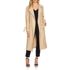 Women's 1.state Belted Trench Coat ($169) ❤ liked on Polyvore featuring outerwear, coats, classic camel, belted coat, twill coat, trench coat, beige coat and beige trench coat