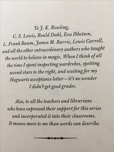 The most inspirational book dedication-- land of stories //a Grimm warning// Chris colfer (yup Kurt from glee) ☺️