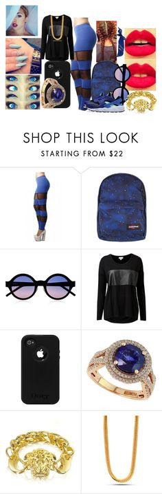 """""""Egypt Carter"""" by gold1gold ❤ liked on Polyvore featuring Eastpak, Illesteva, Witchery, NIKE, Effy Jewelry, Versace, King Ice and River Island"""