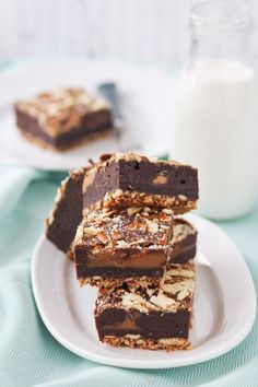 Caramel Filled Peanut Butter Swirl Brownies with Pretzel Crust Image