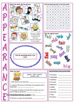 Appearance Vocabulary Exercises worksheet - Free ESL printable ...