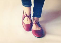 Ballet flats  Passion  Deep Red handmade by TheDrifterLeather