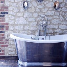 Country bathroom with exposed stone wall   Country Homes & Interiors   IMAGE   Housetohome.co.uk