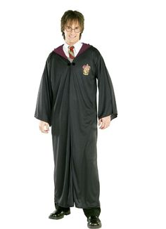 Even adults can get in on the fun in this Harry Potter Robe Costume. Costume includes a black robe with Gryffindor Crest iron on, a front clasp and an att Harry Potter Gryffindor Robe, Harry Potter Fancy Dress, Harry Potter Robes, Saga Harry Potter, Harry Potter Cosplay, Harry Potter Deathly Hallows, Hogwarts Robes, Hogwarts Crest, Slytherin