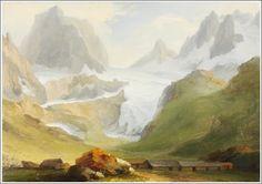 Mountain Art, Mountain Landscape, Basel, Caspar Wolf, Mountain Pictures, Glacier, Waterfall, Fine Art, Painting