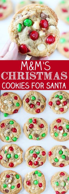 M&M's Christmas Cookies for Santa - #christmascookies #cookies
