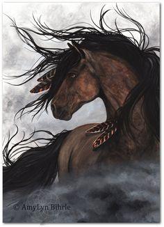 Majestueuze Mustang Indiaanse geest paard veren roken ArT
