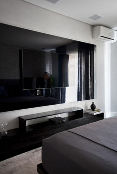 Modern Apartment Interior in Brazil for a Family of Four Tv Wall Design, Tv Unit Design, House Design, Modern Home Bar, Modern Tv Wall, Bedroom Black, Modern Bedroom, Master Bedroom, Tv Wall Decor