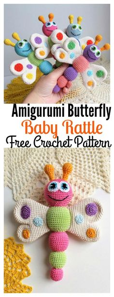 Free Amigurumi Butterfly Baby Rattle Crochet Pattern