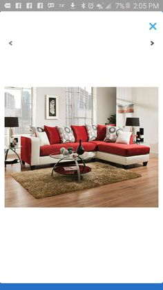 Red, black and white sofa.