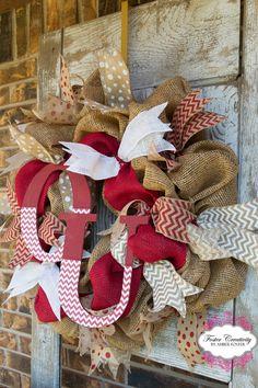 OU Burlap Deco Mesh Wreath by FosterCreativity on Etsy, $75.00