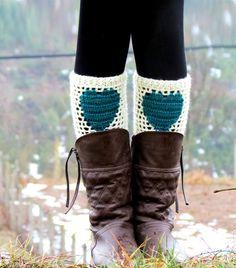 ivory Teal Short Heart Knit Boot Cuffs. Love Heart Short Leg Warmers. Crochet heart Boot Cuffs. Legwear teal cream    Unique Design    Super cute &