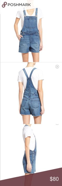 "Madewell overalls cutoff shorts only worn three times, in great condition! Fits true to size- S=4-6. ~3"" inseam: easy, relaxed fit, adjustable straps. 100% cotton, machine wash cold, tumble dry low. Madewell Shorts Jean Shorts"