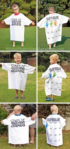 This is such a great back-to-school tradition! Make a shirt with their graduation year on the front, then take their handprint on the back for every grade! Rowan's Back-to-School Shirt with Handprints: Year 3 Update! | Where The Smiles Have Been
