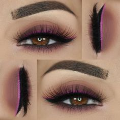 makeup @ paola.11 : brown smokey eye with a hint of mauve-y purple + fuchsia winged double liner