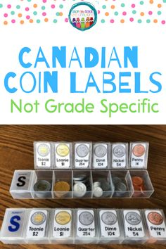 """Being an organization freak - I had to find a way for each of my students to have a """"bank"""" when I taught money. I purchased pill containers from the dollar store and then made these labels to affix to them. I put the labels on both the outside and the inside (because I am OCD and you can't have the labels NOT be on the inside - right?!) Teaching Money, Teaching Math, Maths, School Resources, Teaching Resources, Teaching Ideas, 2nd Grade Math, Grade 2, Money Math Games"""