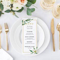Greenery Wedding Menu Template Printable Menu Garden Wedding