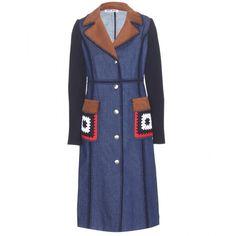 Miu Miu Embellished Denim Trench Coat (37.243.950 IDR) ❤ liked on Polyvore featuring outerwear, coats, miu miu, denim, blue, denim coat, blue coat, blue trench coat and miu miu coat