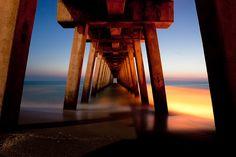 Pier Bridge by Vadium Dmitriyev on Landscape Photos, Landscape Photography, Naples Pier, Beautiful Lights, Golden Gate Bridge, Sunrise, 26th Birthday, Florida, Sky